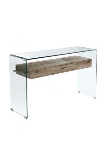 GLASSER Wood κονσόλα Διάφανο Γυαλί 12mm/MDF ράφι