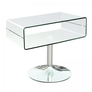 GLASSER Clear TV τραπεζάκι Διάφανο Γυαλί 12mm/Χρώμιο