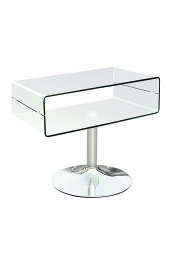 GLASSER Clear TV Τραπεζάκι Χρώμιο - Διάφανο Γυαλί 12mm