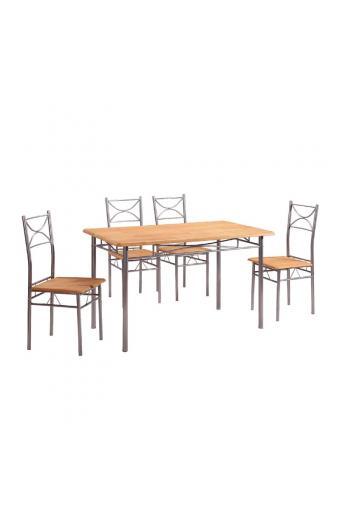 LORETO Set Τραπεζαρία Σαλονιού Κουζίνας: Τραπέζι + 4 Καρέκλες Μέταλλο Βαφή Silver / Φυσικό