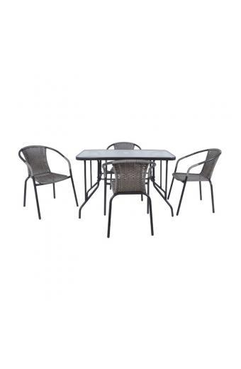 BALENO Set Τραπεζαρία Κήπου : Τραπέζι + 4 Πολυθρόνες Μέταλλο Γκρι / Wicker Mixed Grey